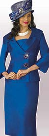 Lily and Taylor 3961-Royal - Womens Skirt Suit In Silky Twill Fabric