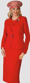 Lily and Taylor 4024 - Skirt Suit With Asymmetric Style Jacket In Crepe Fabric