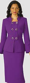 Lily and Taylor 4025 - Crepe Fabric Skirt Suit With Embellished Button Jacket