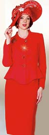 Lily and Taylor 4046-Red - French Crepe Fabric Skirt Set With Peplum Jacket