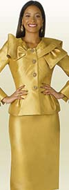 Lily and Taylor 4051 - Silky Twill Skirt Suit With Ruffle Neckline