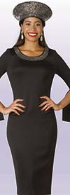 Lily and Taylor 4153-Black - Ponte Knit Fabric Split Bell Cuff Dress With Rhinestone Details