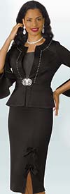 Lily and Taylor 4199 - Scuba Fabric Skirt Suit With Split Bell Sleeves