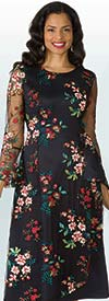 Lily and Taylor 4200 - Floral Embroidered Dress With Mesh Accented Design