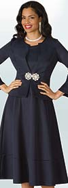 Lily and Taylor 4202 - Scuba Fabric Pleated Dress & Jacket Set With Layered Bell Sleeves