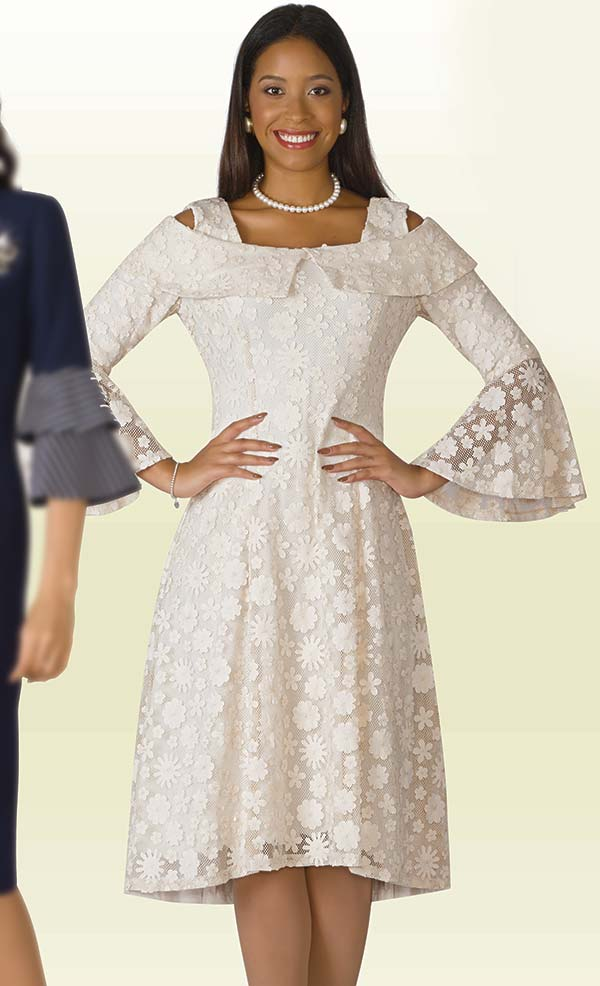 Lily and Taylor 4203 - Lace Design Dress With Bell Sleeves & Strap Neckline