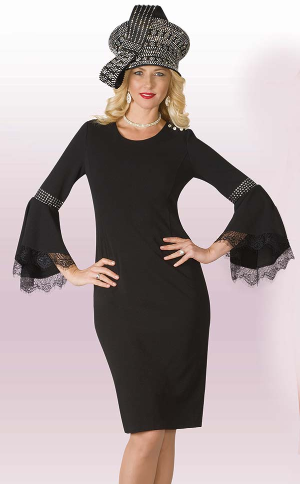 Lily and Taylor 4209 - Crepe Fabric Dress With Lace Accented Bell Sleeves