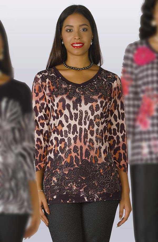 Lily and Taylor 705 - One Piece Embellished Knit Blouse With Animal Print