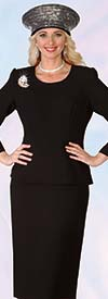 Lily and Taylor 4053-Black - Two Piece Crepe Fabric Skirt Suit With Rhinestones