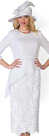 Clearance Lily and Taylor 3720-White - Church Suit With Asymmetric Crepe Top & Lace Skirt