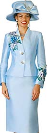 Clearance Lily and Taylor 4122-Blue - Silky Twill Womens Church Suit With Floral Embroidery Trim