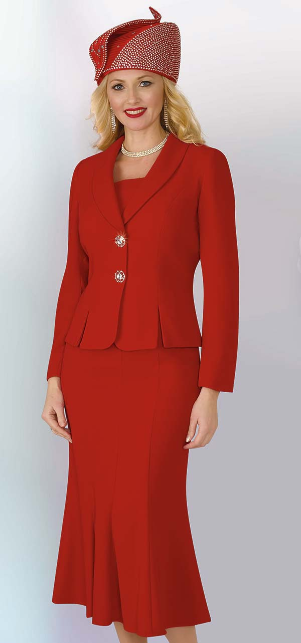 Lily and Taylor 2834 - Poly Crepe Fabric Flared Skirt Suit With Shawl Lapel Jacket