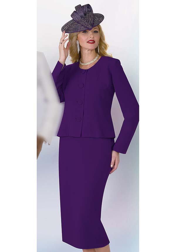 Lily and Taylor 2920 - Poly Crepe Fabric Skirt Suit With Jewel Neckline Jacket