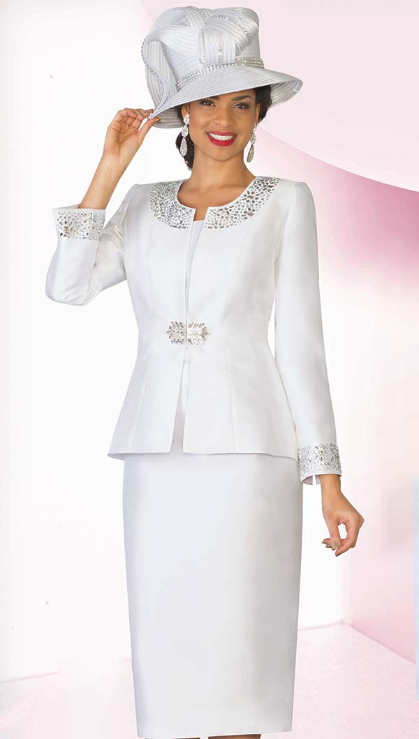 Lily and Taylor 3800-White -  Rhinestone Embellished Silky Twill Church Suit With Peplum Jacket