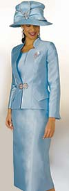 Lily and Taylor 3953 - Ladies Silky Twill Church Suit With Star Neckline Jacket