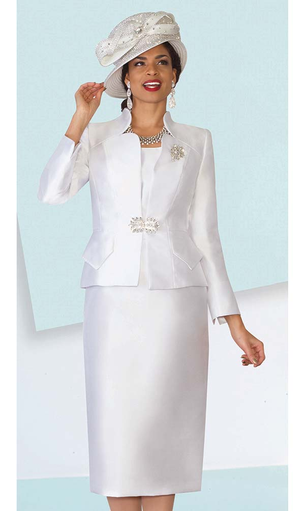 Lily and Taylor 3953-White - Ladies Silky Twill Church Suit With Star Neckline Jacket
