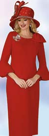 Lily and Taylor 4010 - Crepe Fabric Skirt Suit With Bell Cuff Sleeves & Bow Adornments