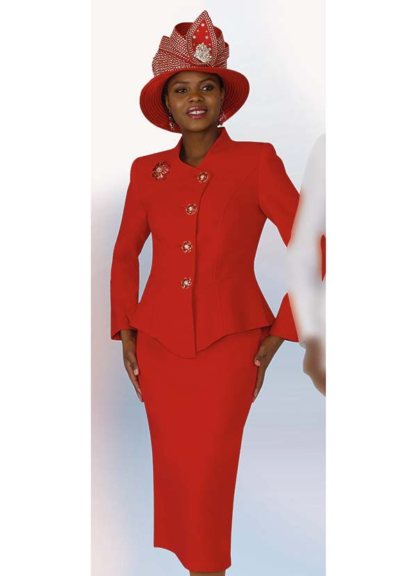 Lily and Taylor 4046 - Poly Crepe Fabric Skirt Suit With Center Point Hem Jacket