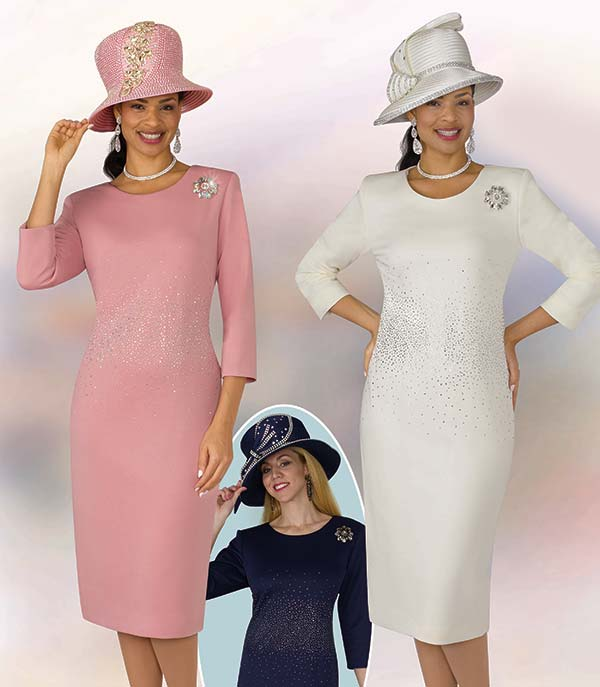 Lily and Taylor 4090 Ponte Knit Fabric Womens Church Dress With Rhinestone Embellishments & Brooch