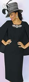 Lily and Taylor 4091-Black - Embellished Neckline Womens Church Dress With Cape