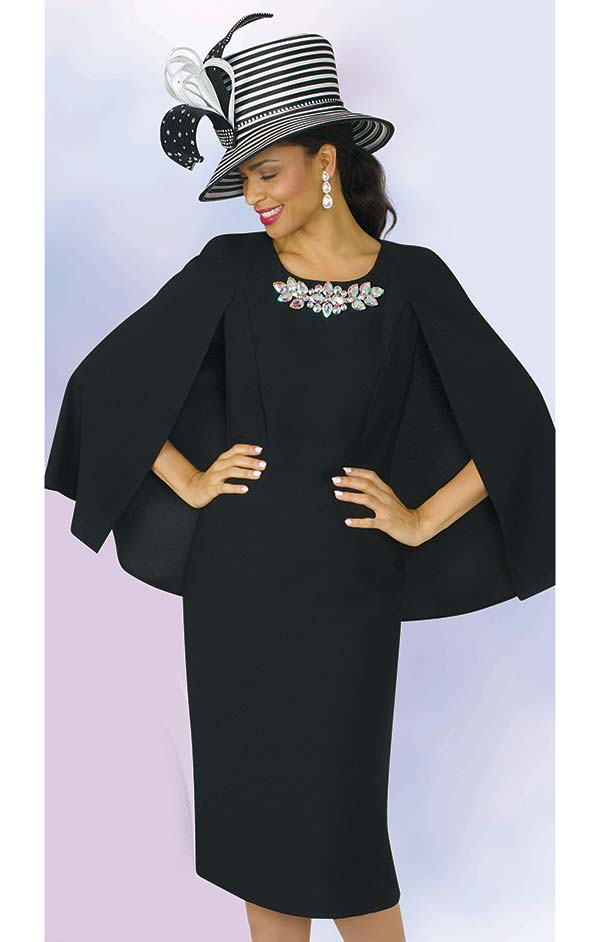 Lily and Taylor 4091 -  Crepe Fabric Church Dress With Cape Style Design & Jewel Embellishment