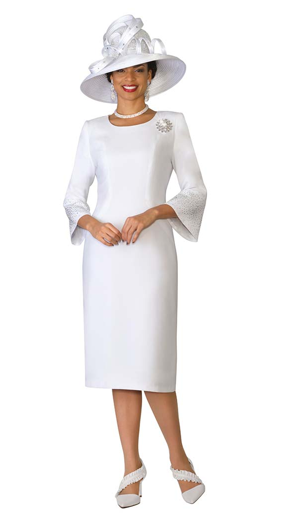 Lily and Taylor 4092-White - Rhinestone Embellished Dress In French Crepe Fabric With Bell Sleeves