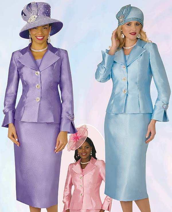 Lily and Taylor 4096 Silky Twill Womens Church Suit With Wide Notch Lapels
