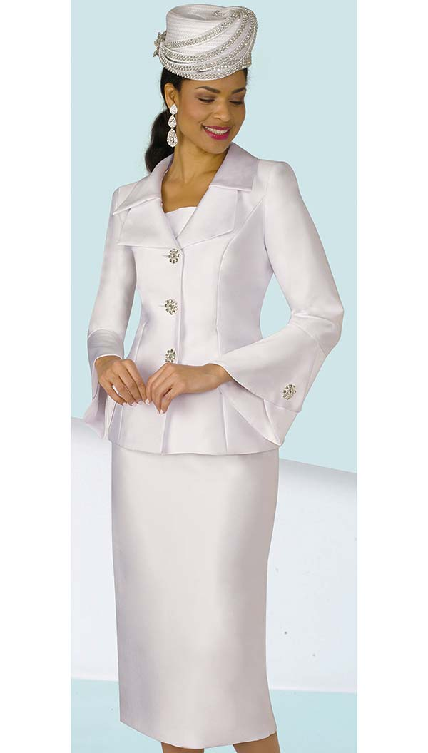 Lily and Taylor 4107-White - Womens Church Suit With Layered Lapels