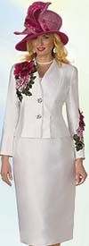 Clearance Lily and Taylor 4122 - Silky Twill Fabric Skirt Suit With Embroidered Floral Adornments