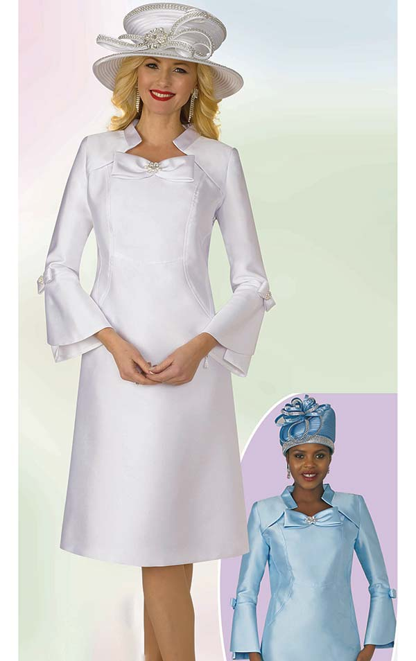 Lily and Taylor 4124 - Silky Twill A-Line Church Dress With Bow Adornments On Collar & Sleeves