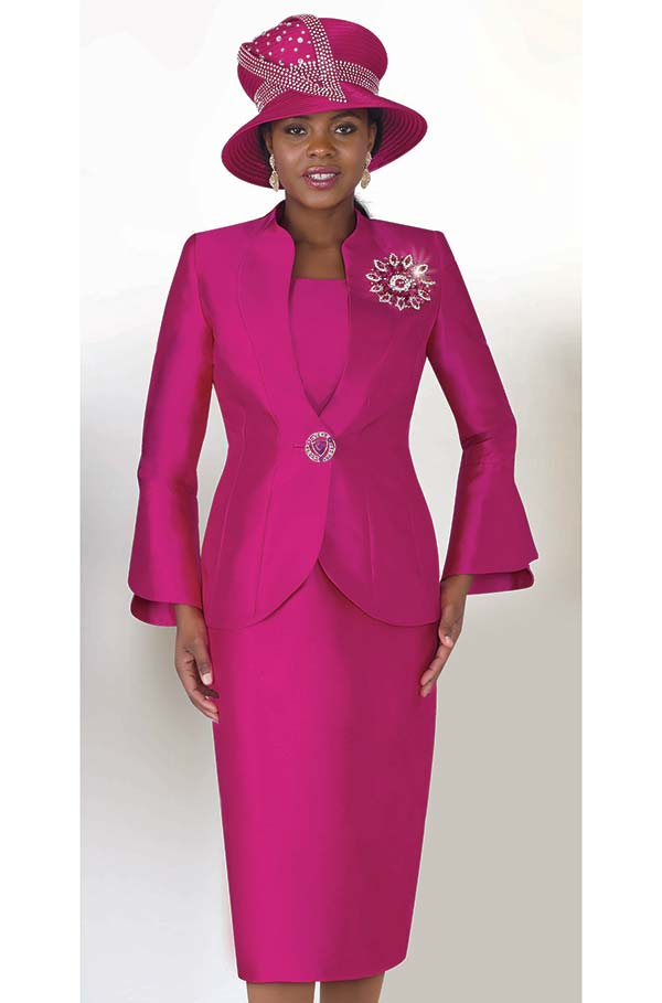 Lily and Taylor 4140 - Silky Twill Womens Split Cuff Church Suit With Elaborate Brooch