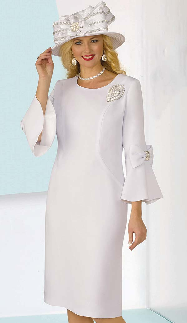 Lily and Taylor 4154-White - French Crepe Church Dress With Bows On Bell Sleeves & Brooch