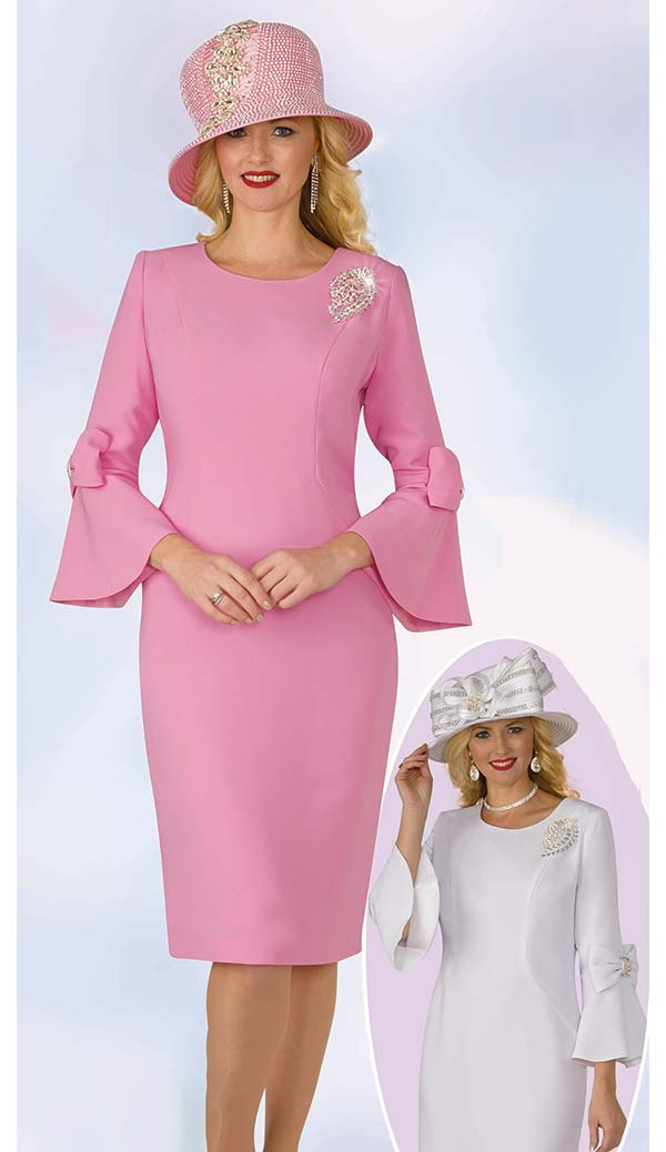 Lily and Taylor 4154 - French Crepe Church Dress With Bows On Bell Sleeves & Brooch