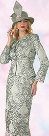 Clearance Lily and Taylor 4164 - Novelty Fabric Ladies Skirt Suit With Multi Print