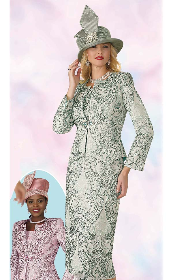 Lily and Taylor 4164 - Novelty Fabric Ladies Skirt Suit With Multi Print