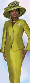 Lily and Taylor 4174 - Silky Twill Church Suit With Split Cuffs & Stand-Up Neckline