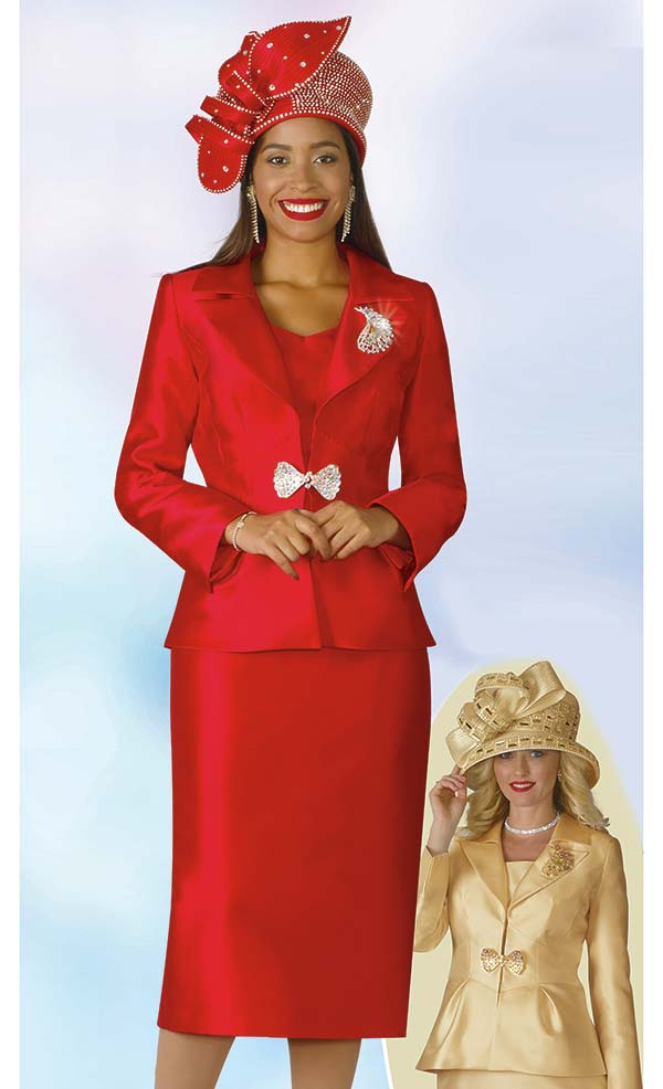 Lily and Taylor 4177 - Ladies Silky Twill Fabric Church Suit With Notch Lapel Peplum Jacket
