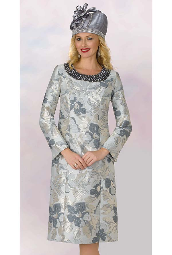 Lily and Taylor 4213 -  Multi Floral Print Novelty Fabric Church Dress With Embellished Neckline
