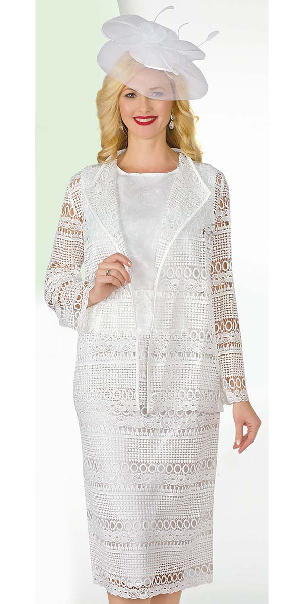 Lily and Taylor 4253-White - Crinkle Skirt Suit Womens Suit With Wing Lapels