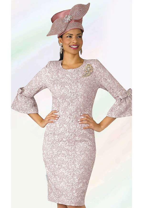 Lily and Taylor 4273 - Novely Textured Fabric Church Dress With Brooch & Bell Cuff Sleeves