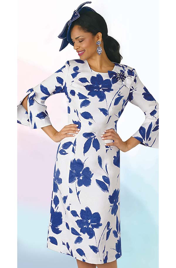Lily and Taylor 4287 - Floral Multi Print Dress In Novelty Fabric With Split Sleeves & Bow