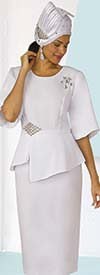 Clearance Lily and Taylor 4291-White - Ladies French Crepe Fabric Church Suit With Asymmetric Design Jacket