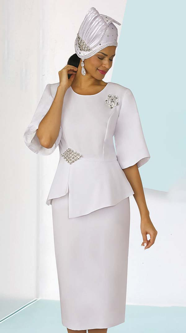 Lily and Taylor 4291-White - Ladies French Crepe Fabric Church Suit With Asymmetric Design Jacket