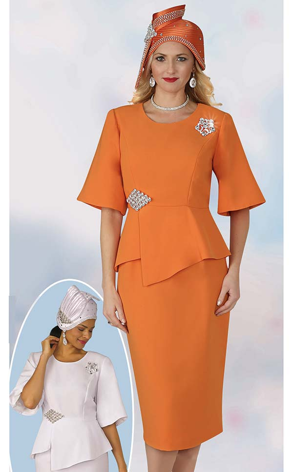 Lily and Taylor 4291 - Ladies French Crepe Fabric Church Suit With Asymmetric Design Jacket