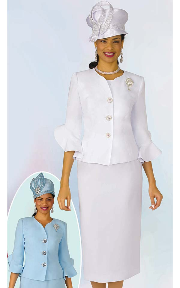 Lily and Taylor 4294 - French Crepe Skirt Suit With Flounce Cuff Sleeves