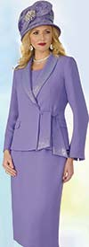 Lily and Taylor 4303 - French Crepe Fabric Shawl Lapel Skirt Suit With Rhinestones