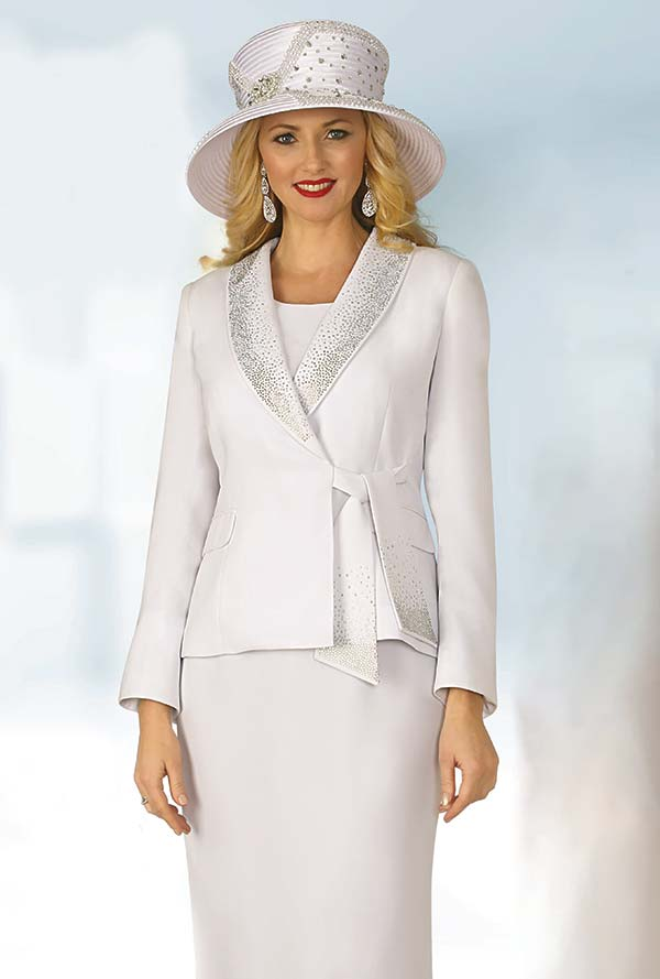 Lily and Taylor 4303-White - French Crepe Fabric Shawl Lapel Skirt Suit With Rhinestones