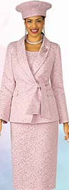 Lily and Taylor 4306-Pink - Three Piece Shawl Lapel Skirt Suit In Textured Novelty Fabric