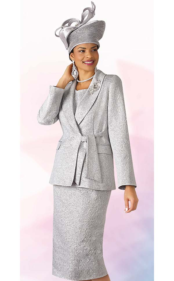 Lily and Taylor 4306-Silver - Three Piece Shawl Lapel Skirt Suit In Textured Novelty Fabric