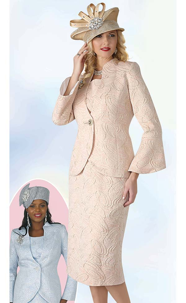 Lily and Taylor 4316 - Textured Novelty Fabric Skirt Suit With Bell Sleeves
